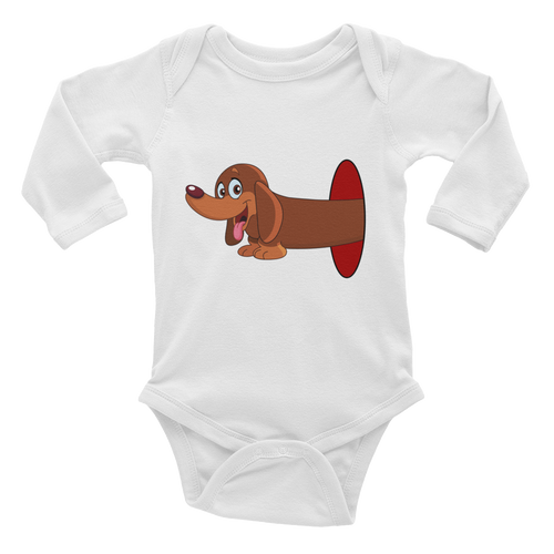 Dachlove.com Infant Baby Long Sleeve Bodysuit Dachshund Inside Hole Design, Bodysuit- Dachshundloversonline  brings together dachshund merchandise, original and unique designed sausage dog gifts, accessories from all around the world.  The perfect addition to your dachshund loving home.  Find it in one store where you can buy them online and free shipping worldwide to your doorstep.
