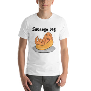 Dachlove.com Sausage Dog Short-Sleeve Unisex T-Shirt, T-shirt- Dachshundloversonline  brings together dachshund merchandise, original and unique designed sausage dog gifts, accessories from all around the world.  The perfect addition to your dachshund loving home.  Find it in one store where you can buy them online and free shipping worldwide to your doorstep.