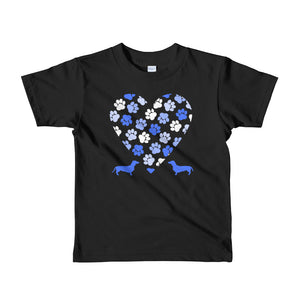 Dachlove.com Paw Heart Blue Short sleeve kids t-shirt, T-shirt- Dachshundloversonline  brings together dachshund merchandise, original and unique designed sausage dog gifts, accessories from all around the world.  The perfect addition to your dachshund loving home.  Find it in one store where you can buy them online and free shipping worldwide to your doorstep.