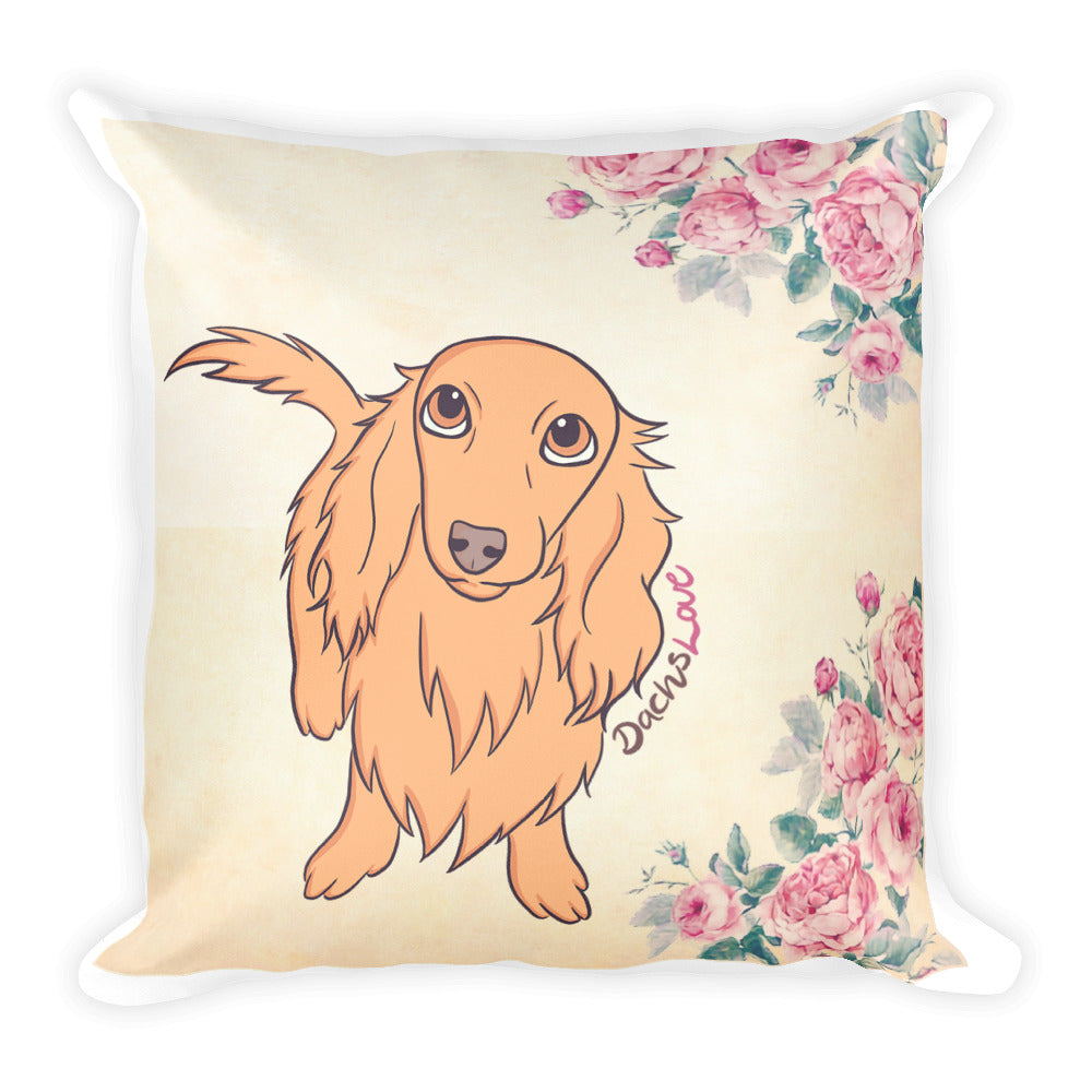 Dachlove.com DachsLove with Roses Square Pillow, Pillow- Dachshundloversonline  brings together dachshund merchandise, original and unique designed sausage dog gifts, accessories from all around the world.  The perfect addition to your dachshund loving home.  Find it in one store where you can buy them online and free shipping worldwide to your doorstep.