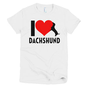 Dachlove.com Women's I love Dachshund Short sleeve women's t-shirt, T-shirt- Dachshundloversonline  brings together dachshund merchandise, original and unique designed sausage dog gifts, accessories from all around the world.  The perfect addition to your dachshund loving home.  Find it in one store where you can buy them online and free shipping worldwide to your doorstep.