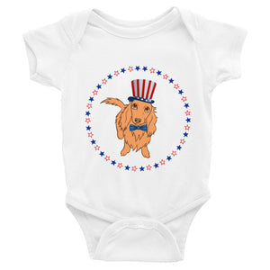 Dachlove.com Independence Day 4th of July Baby Infant Bodysuit, Bodysuit- Dachshundloversonline  brings together dachshund merchandise, original and unique designed sausage dog gifts, accessories from all around the world.  The perfect addition to your dachshund loving home.  Find it in one store where you can buy them online and free shipping worldwide to your doorstep.