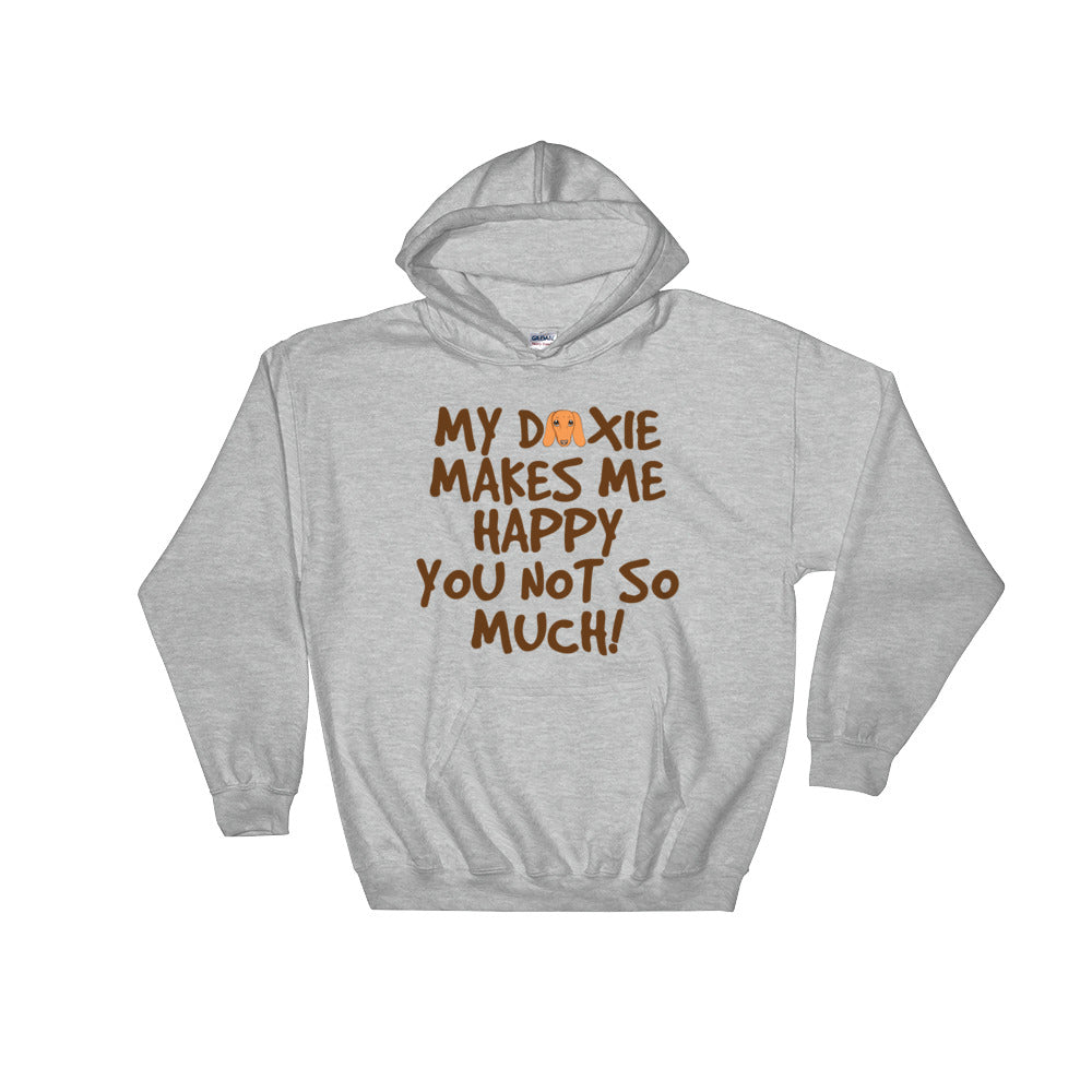 Dachlove.com My Doxie makes me happy Men Gray Hooded Sweatshirt, Sweatshirt- Dachshundloversonline  brings together dachshund merchandise, original and unique designed sausage dog gifts, accessories from all around the world.  The perfect addition to your dachshund loving home.  Find it in one store where you can buy them online and free shipping worldwide to your doorstep.