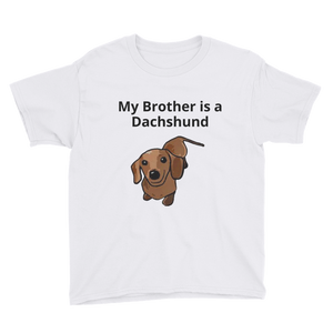 Dachlove.com My Brother is a Dachshund Youth Short Sleeve T-Shirt, - Dachshundloversonline  brings together dachshund merchandise, original and unique designed sausage dog gifts, accessories from all around the world.  The perfect addition to your dachshund loving home.  Find it in one store where you can buy them online and free shipping worldwide to your doorstep.