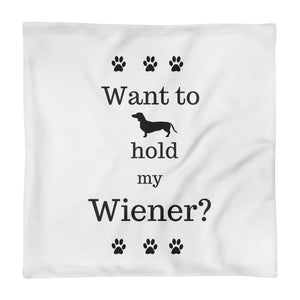 Dachlove.com Home decor Hold my Wiener Square Pillow Case only, Pillow Case- Dachshundloversonline  brings together dachshund merchandise, original and unique designed sausage dog gifts, accessories from all around the world.  The perfect addition to your dachshund loving home.  Find it in one store where you can buy them online and free shipping worldwide to your doorstep.