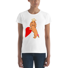 Load image into Gallery viewer, Dachlove.com Queen Dachshund Women's short sleeve t-shirt, - Dachshundloversonline  brings together dachshund merchandise, original and unique designed sausage dog gifts, accessories from all around the world.  The perfect addition to your dachshund loving home.  Find it in one store where you can buy them online and free shipping worldwide to your doorstep.