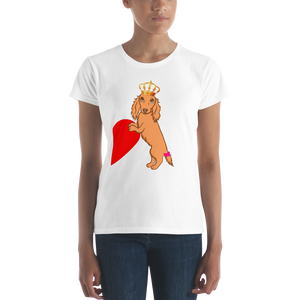 Dachlove.com Queen Dachshund Women's short sleeve t-shirt, - Dachshundloversonline  brings together dachshund merchandise, original and unique designed sausage dog gifts, accessories from all around the world.  The perfect addition to your dachshund loving home.  Find it in one store where you can buy them online and free shipping worldwide to your doorstep.
