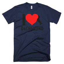 Load image into Gallery viewer, Dachlove.com Men's I love Dachshund Short-Sleeve T-Shirt, T-shirt- Dachshundloversonline  brings together dachshund merchandise, original and unique designed sausage dog gifts, accessories from all around the world.  The perfect addition to your dachshund loving home.  Find it in one store where you can buy them online and free shipping worldwide to your doorstep.