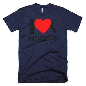 Dachlove.com Men's I love Dachshund Short-Sleeve T-Shirt, T-shirt- Dachshundloversonline  brings together dachshund merchandise, original and unique designed sausage dog gifts, accessories from all around the world.  The perfect addition to your dachshund loving home.  Find it in one store where you can buy them online and free shipping worldwide to your doorstep.