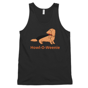 Dachlove.com Haired Dach Vampire Classic Unisex Halloween tank top, T-shirt- Dachshundloversonline  brings together dachshund merchandise, original and unique designed sausage dog gifts, accessories from all around the world.  The perfect addition to your dachshund loving home.  Find it in one store where you can buy them online and free shipping worldwide to your doorstep.