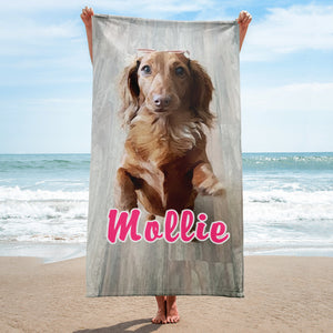 Dachlove.com Customized Photo Towel, Custom Items- Dachshundloversonline  brings together dachshund merchandise, original and unique designed sausage dog gifts, accessories from all around the world.  The perfect addition to your dachshund loving home.  Find it in one store where you can buy them online and free shipping worldwide to your doorstep.