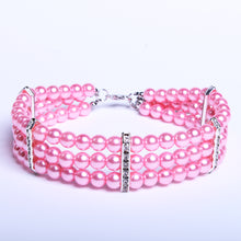 Load image into Gallery viewer, Dachlove.com This beautiful 3 Pink Row Pearls Necklace Collar for your Dachshund, Accessories- Dachshundloversonline  brings together dachshund merchandise, original and unique designed sausage dog gifts, accessories from all around the world.  The perfect addition to your dachshund loving home.  Find it in one store where you can buy them online and free shipping worldwide to your doorstep.