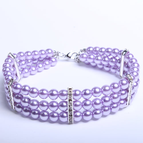 Dachlove.com This beautiful purple 3 Row Pearls Necklace Collar for your Dachshund, Accessories- Dachshundloversonline  brings together dachshund merchandise, original and unique designed sausage dog gifts, accessories from all around the world.  The perfect addition to your dachshund loving home.  Find it in one store where you can buy them online and free shipping worldwide to your doorstep.
