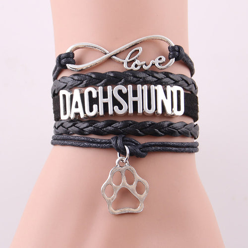 Dachlove.com Jewelry DACHSHUND Love bracelet, jewelry- Dachshundloversonline  brings together dachshund merchandise, original and unique designed sausage dog gifts, accessories from all around the world.  The perfect addition to your dachshund loving home.  Find it in one store where you can buy them online and free shipping worldwide to your doorstep.