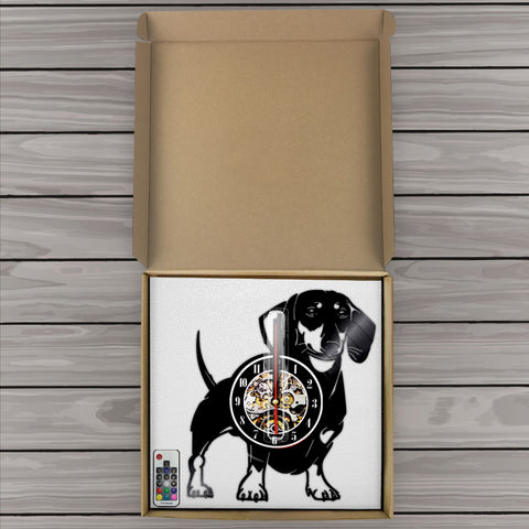 Wall Clock Dachshund Home Decor With LED