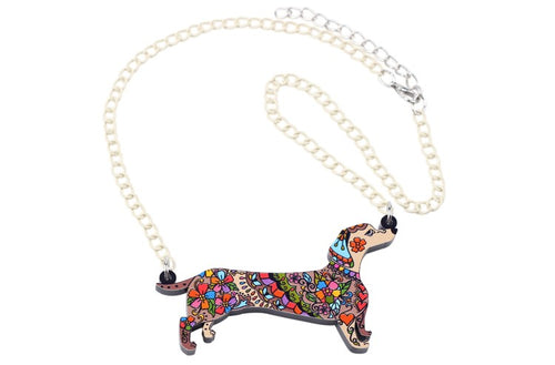 Dachlove.com Jewelry Dachshund Acrylic  Pendant with Necklace, Accessories- Dachshundloversonline  brings together dachshund merchandise, original and unique designed sausage dog gifts, accessories from all around the world.  The perfect addition to your dachshund loving home.  Find it in one store where you can buy them online and free shipping worldwide to your doorstep.