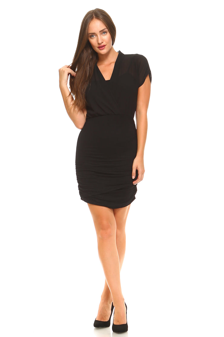 Women's Elastic Waist Cross T-Shirt Dress