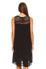 Women's Crochet Sleeveless Tunic Dress