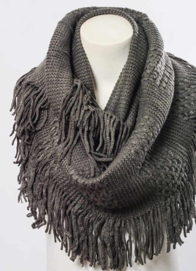 Beautiful Pointelle Fringe Infinity Scarf - Comes in 5 Colors