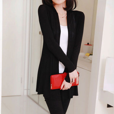 Women long Knitted Cardigan Female long Sleeve Sunscreen Cape Air Conditioning Sweater 9 Colors