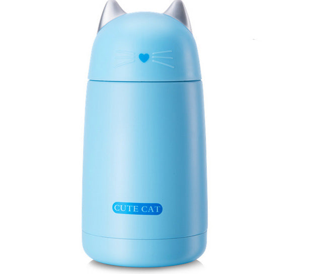 Cute Cat Thermos Cup Kids Thermo Mug Drinkware Child 330ML Water Bottle Stainless Steel Vacuum Flask Portable Leak-proof Tumbler
