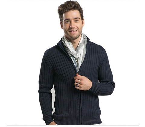 4 Colors! Uwback 2017 New Brand Winter Thick Wool Cardigan Men Plus Size 3XL Casual Solid Sweaters Man Mandarin Collar OA037