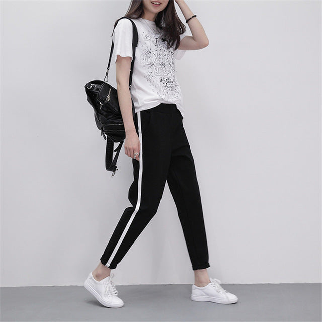 2018 Spring Sweatpants Women Casual Harem Pants Loose Trousers For Women Black Striped Side Sweat Pants Female Plus Size M-XXL