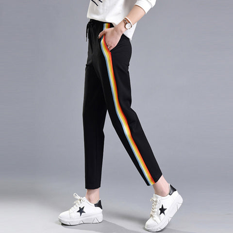 2017 Spring Summer Women Casual Sweatpants Rainbow Striped Printed Side Pant Ladies Loose Trousers Joggers Sweat Pants Plus Size
