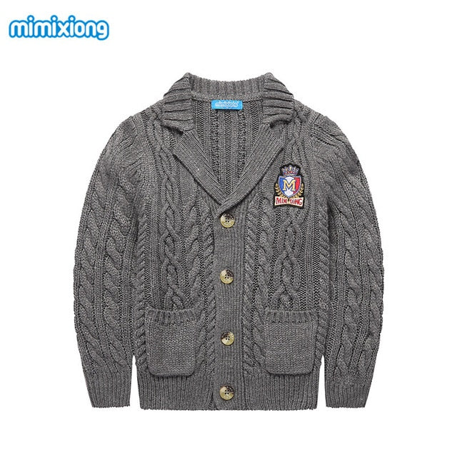Spring Boys Cable Knit Sweater Cardigans Winter Thicken Kids Knitwear Coats Turn-Down Collar Children's Jackets Grey Black White