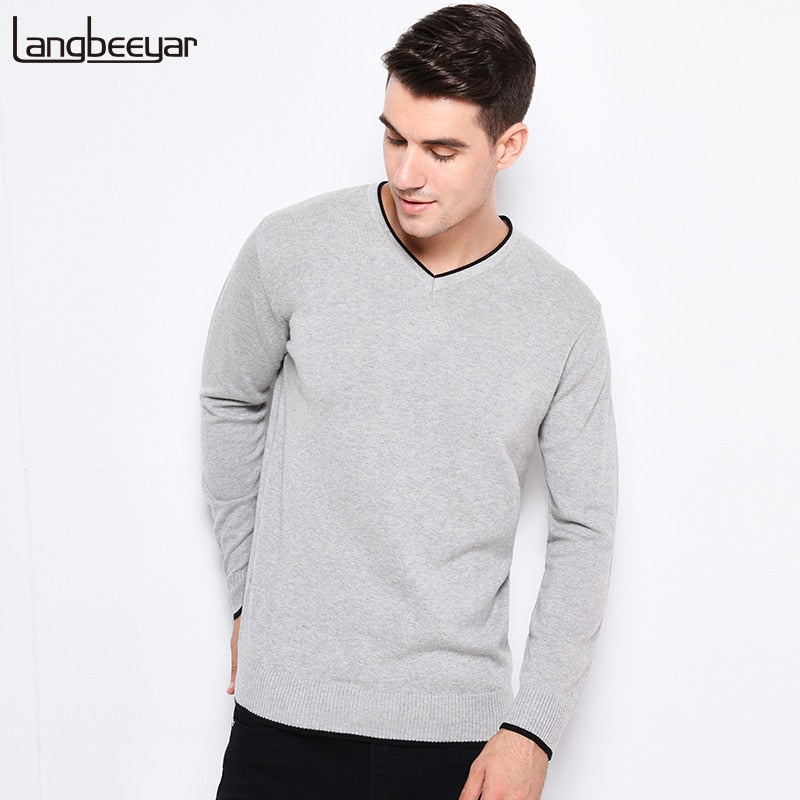 2018 New Autumn Winter Fashion Brand Clothing Pullover Mens Sweaters V-Neck Solid Color Slim Fit 100% Cottn Sweaters For Men