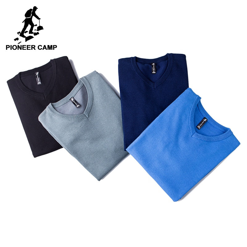 Pioneer Camp 2018 New Mens Sweaters famouse brand Pull Homme Pullover Men Casual  leisure Jersey Hombre Cotton v-neck Plus Size
