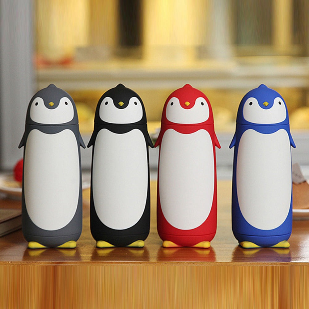 2017 New Cute Penguin Thermos Bottles Silicon Boron Glass Mug Travel Coffee Tea Vacuum Flasks Cup Best Gift for Kids 4 Colors