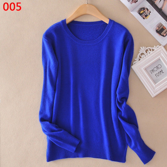 2018 Autumn Winter New Women Sweaters Casual Solid Colors Long Sleeve O-Neck Wool Female Cashmere Blend  Pullovers Plus Size