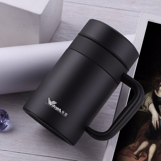 420ml Thermal Cup 304 Stainless Steel Office Cup With Filter Coffee Thermos Mug Insulated Tea Thermos Cup Men Office Thermoses