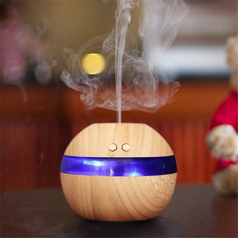 200ml Aroma Essential Oil Diffuser, Wood Grain Ultrasonic Cool Mist Humidifier Air Aromatherapy Atomizer with LED Light for Office Home Bedroom Living Room Study Yoga Spa - Shopcart50