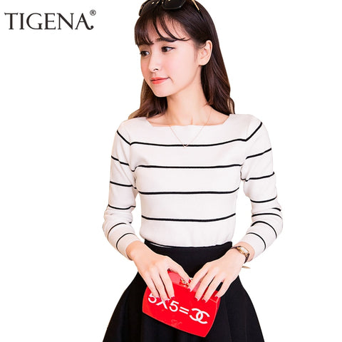 TIGENA High Elastic Striped Jumper Women 2018 Autumn Winter Women Sweaters And Pullovers Female Tricot Pull Femme Winter Top