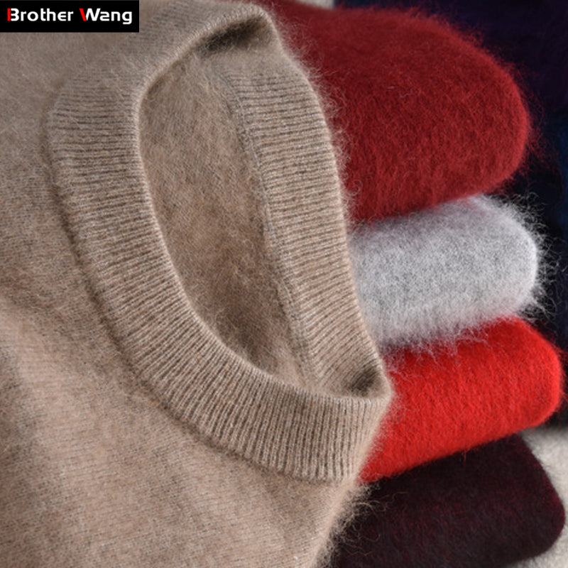 Brother Wang Brand 2018 Winter New Men's Fashion Cashmere Sweater Casual O-Neck Warm Thick Pullover Sweater Male
