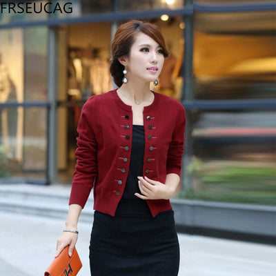 FRSEUCAG 2017 new double-breasted cashmere sweater solid color knitted small jacket round neck  cardigan Short section