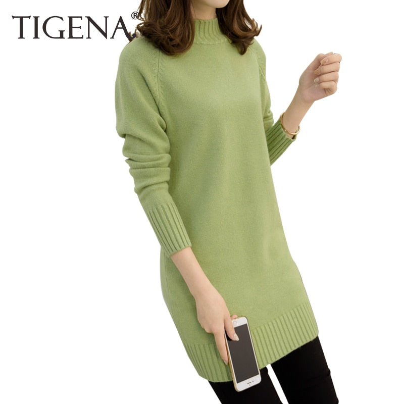 TIGENA Medium Long Sweater Dress Women 2018 Autumn Winter Knit Women Sweaters And Pullovers Female Tricot Jumper Pull Femme