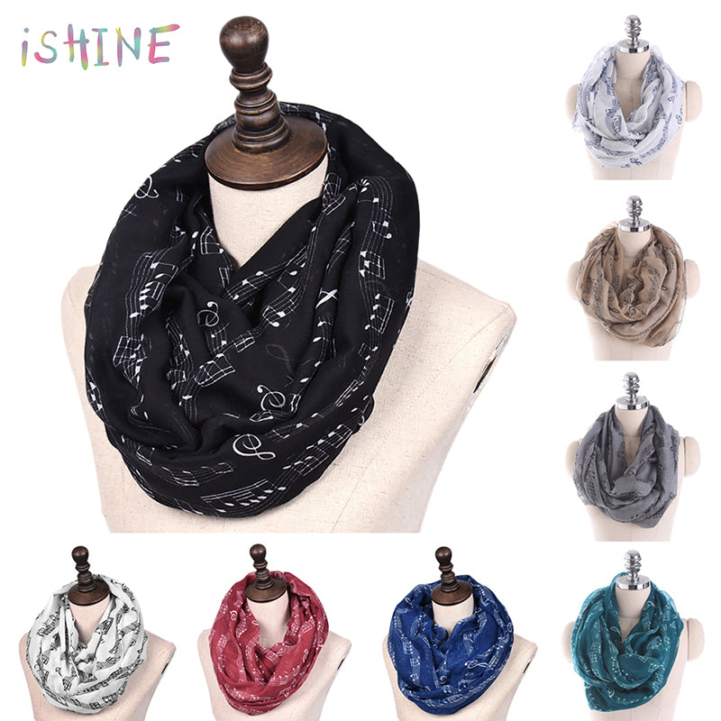 High Quality Women Scarf Musical Symbol Scarf Long Scarf Voile Music Note warm Autumn Winter neckerchief Lady Scraf