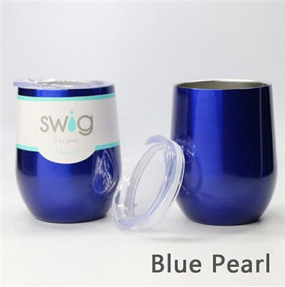 2018 Hot Swig Cups 9OZ Egg Shaped Cup 304 Stainless Steel Swig Tumber Mug with Lid Wine Beer Cup Vacuum Thermos Dropshipping