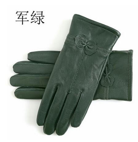 2018  women's genuine leather gloves  sheepskin gloves  fashion female windproof gloves autumn and winter mittnes