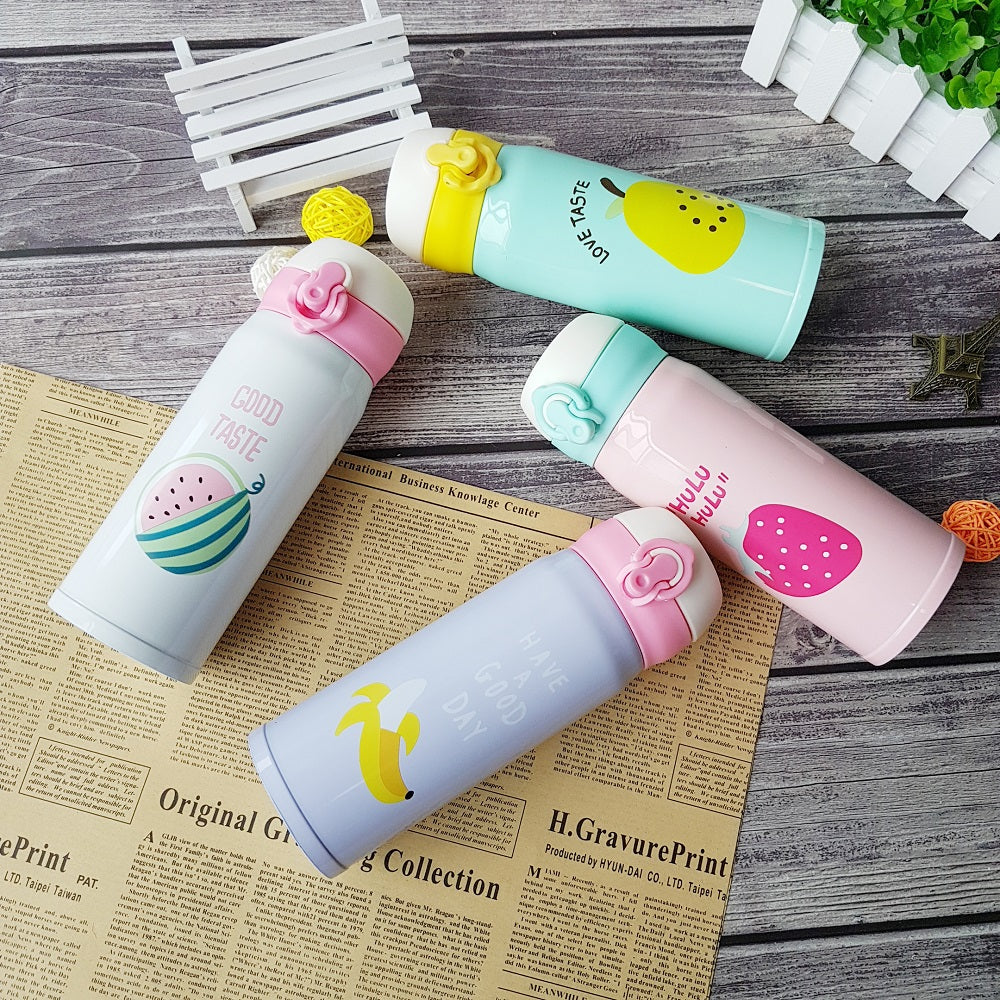 Creative Fruit Bouncing Cover Insulation Cup Stainless Steel Thermos Bottle Portable Student Fruit Pattern school Water Bottle