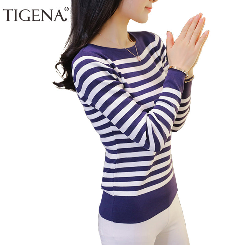 TIGENA Red/Blue/Black Striped Knitted Sweater Women 2018 Winter Women Sweaters And Pullovers Female Tricot Jumper Pull Femme