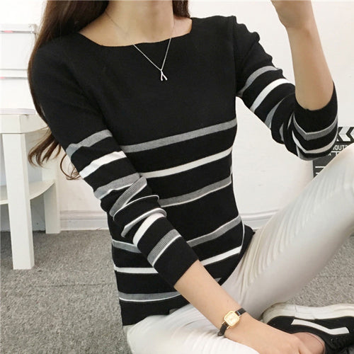 TIGENA 2018 Winter Jumper Women Sweaters And Pullovers Knitted Striped Long Sleeve Cashmere Sweater Female Winter Top Pull Femme