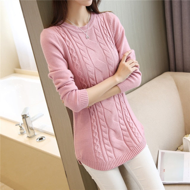 2018 Autumn Winter Women Sweater And Pullover Female Long Sleeve Knitted Jumper Jersey Tricot Tops Pull Femme