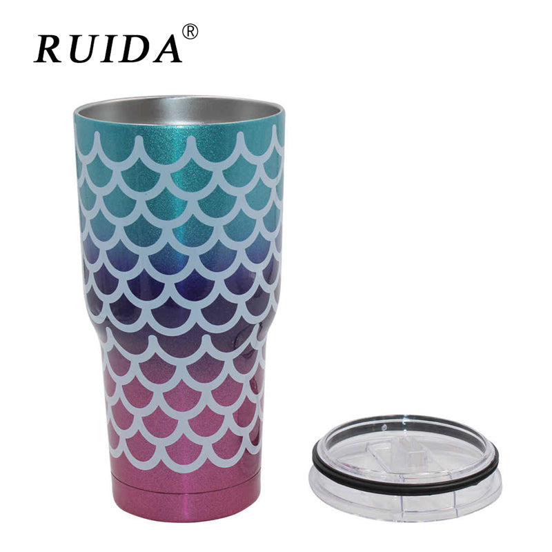 RUIDA 30oz Mermaid Tumbler Cups Triple Insulated Stainless Steel Double Wall Vacuum Insulated Mugs Travel Mug Beer Cups ST015