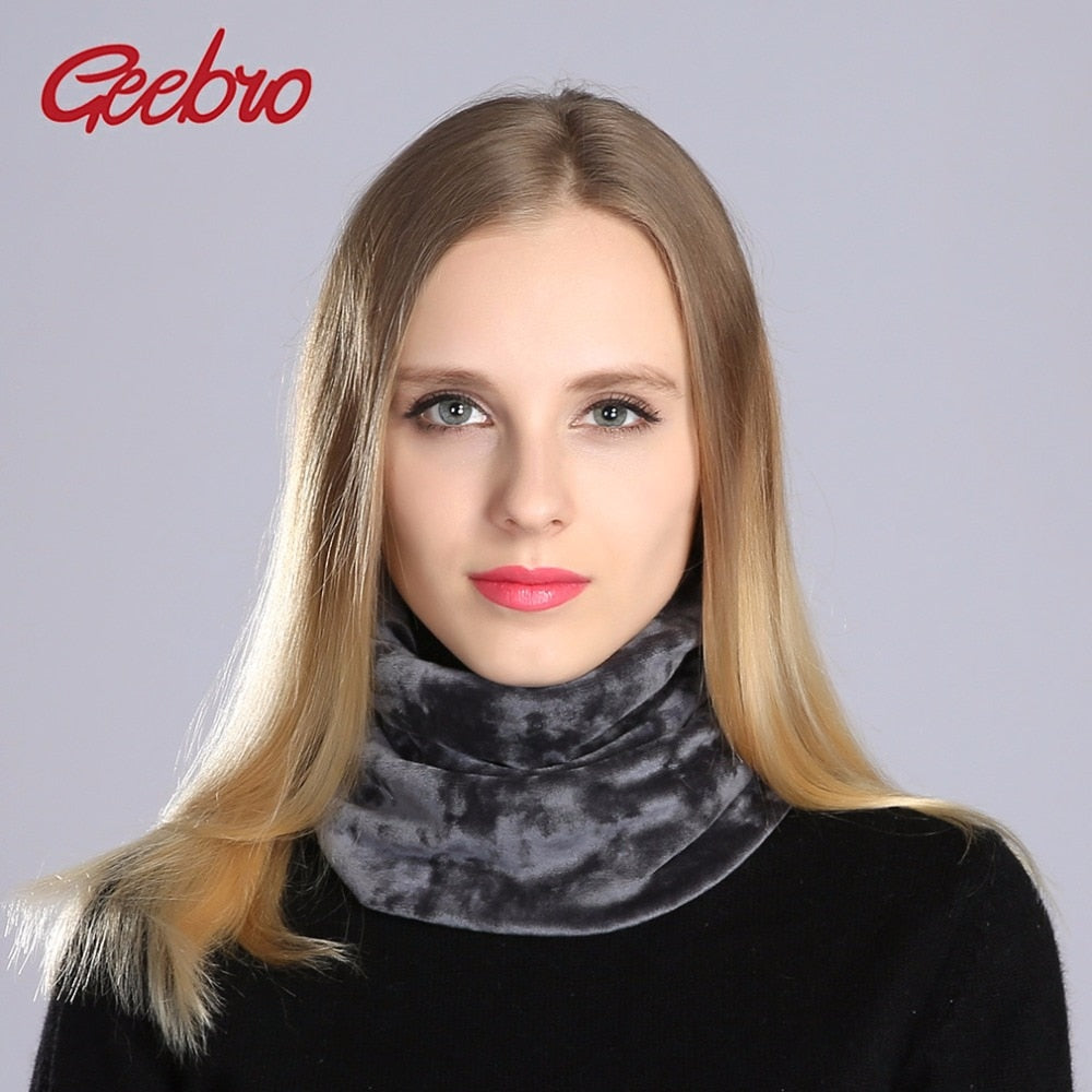 Geebro Brand Women's Neck Scraf Winter Casual Velvet Beanie Scarves Women Warm Bandana Scarf For Female Velour Cotton Scarfs