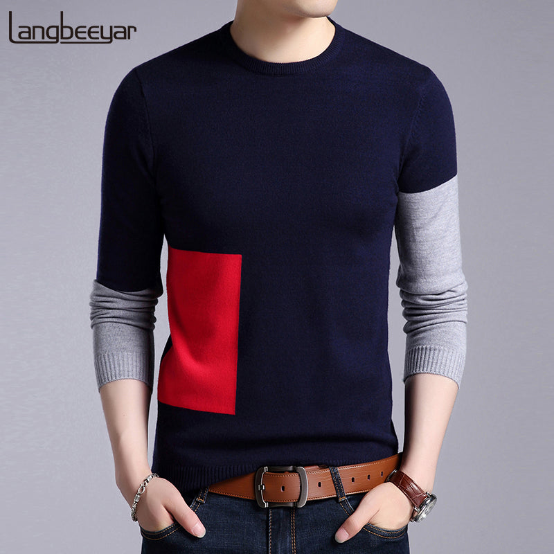 2018 New Fashion Brand Sweaters Mens Pullovers Patch Work Slim Fit Jumpers Knit Woolen Autumn Korean Style Casual Men Clothes