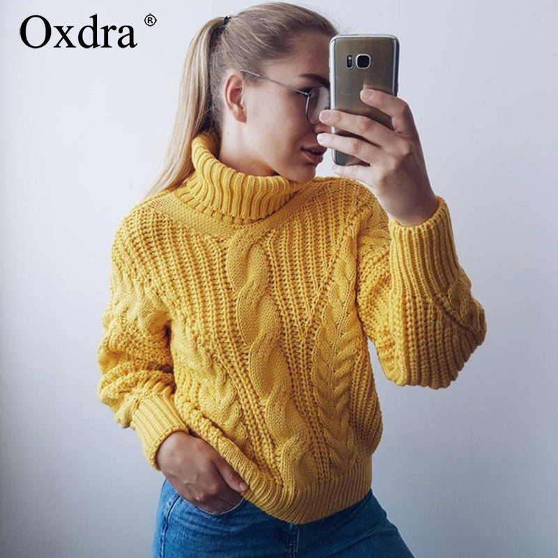 Oxdra Sweaters Women 2018 Autumn Winter Female Turtleneck Casual Loose Ladies Knitted Jumpers Pullovers Women's Clothing